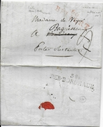 1800/04 - DEBOURSE De BORDEAUX 55X12 IND 14 - LETTRE De BELFORT 47X12 IND 8 => BORDEAUX POSTE RESTANTE REEXP à BAGNIEREU - 1801-1848: Précurseurs XIX