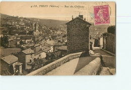 THIZY : Rue Du Château, Café Du Château . 2 Scans. Edition Goutagny - Thizy