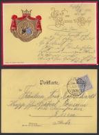 Ansichtskarte Gruss Aus Essen A.d. Ruhr Mit Ausgeprägtem Wappen Gestempelt 1900 - Ansichtskarten