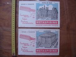 2 BUVARDS Aspirine METASPIRINE Monuments MADELEINE HOTEL DE VILLE PARIS - Buvards, Protège-cahiers Illustrés