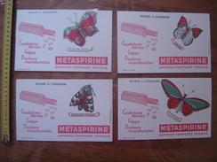 4 BUVARDS Aspirine METASPIRINE Papillons Butterfly Paon Ixias Ecaille Priam - Blotters