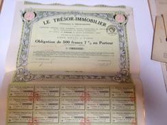Obligation De 500 Francs  Au Porteur, Le Trésor IMMOBILIER 7% - Banque & Assurance