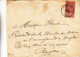 Belgique - Lettre De 1895 - Oblit Hal - Exp Vers Bruxelles - 1894-1896 Exhibitions