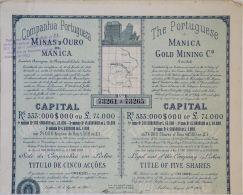 Share - Comp. Portugueza De Minas D'Ouro De Manica - 22$500 1905 - Magazines: Subscriptions