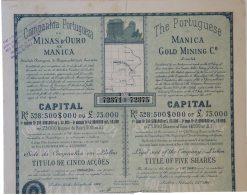 Share - Comp. Portugueza De Minas D'Ouro De Manica - 22$500 1901 - Magazines: Subscriptions