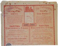 Share - Comp. Portugueza De Minas D'Ouro De Manica - 112$500 1899 - Magazines: Subscriptions