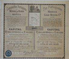 Share - Comp. Portugueza De Minas D'Ouro De Manica - 4$500 1899 - Magazines: Subscriptions