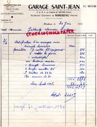 86- MIREBEAU- FACTURE GARAGE SAINT JEAN- BD GAMBETTA- TRACTEUR AUTOMOBILE- 1954 - Cars