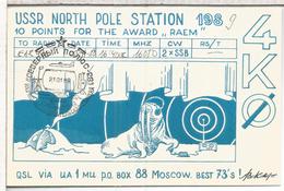 URSS RADIO CARD NORTH POLE STATION 1989 MAT POLO NORTE ARTICO - Télécom