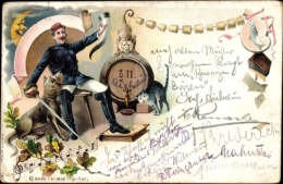 Lithographie Student Bei Einem Bier, Dogge, Katze, Affe, Paragraph 11 - Cartes Postales