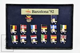 Barcelona 1992 Olympic Games 14 Pin Set - Cobi Mascot With All Participating Countries Flags - Pin Badge - Juegos Olímpicos