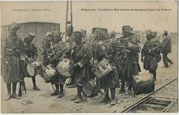Casablanca Guerre 1914 Clique Des Tirailleurs Embarquant Pour La France Orchestre Tambour - Casablanca