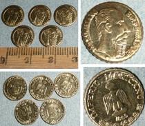 Rare Lot De 5 Pièces Miniatures Dorées, Maximiliano Emperador, Imperio Mexicano 1865, Mexique, Empereur - Mexiko