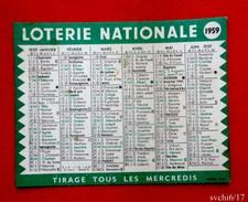Calendrier Petit Format  Loterie Nationale 1959 - Tamaño Pequeño : 1941-60