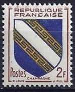 France - YT 953 - Armoiries De Provinces (VI) - Champagne (1953) AVEC TRACE DE CHARNIERE - France