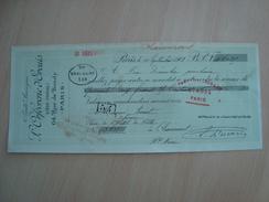CHEQUE L'ORFEVRERIE D'ERCUIS PARIS 1901 - Chèques & Chèques De Voyage