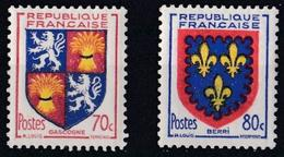 France - YT 958 & 959 - Armoiries De Provinces (VI) - Gascogne & Berri (1953) AVEC TRACE DE CHARNIERE - France