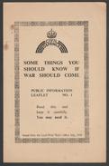 Civil Defence Public Information Leaflets 1-4, Lord Privy Seal's Office, 1939 - War 1939-45