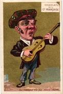 3Trade Cards Chromos Music Instr  La Guitare Pub Belle Jardinière Choc Française Impr Guéneux Mertens Romanet Orgue - Chocolat