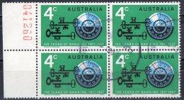 Australia 1967 Banking 4c Used Block Of 4 - 1966-79 Elizabeth II