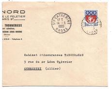 OBLITERATION MANUELLE DE SAINTE CATHERINE (RHONE) 1965 - Marcofilia (sobres)