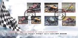 New Zealand 2009 Champions Of World Motorsport FDC - Racing Cars, Motorbikes - FDC