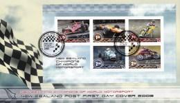 New Zealand 2009 Champions Of World Motorsport Minisheet FDC - Racing Cars, Motorbikes - FDC