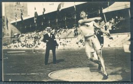 1912 Sweden Stockholm Olympics Official Postcard 209 Magnusson Discus 3rd Place - Olympic Games