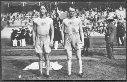1912 Sweden Stockholm Olympics Official Postcard 234 Lomberg & Wieslander 2nd & 3rd In The Decathlon - Olympic Games