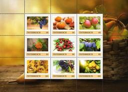 ÖSTERREICH 2015 ** Herbstfrüchte / Weintraube, Kürbis, Apfel, Sanddorn...- PM Kleinbogen MNH - Ernährung
