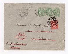 !!! BANDE DE 3 DU 5C BLANC /LETTRE DE 1902 CACHET MARITIME LIGNE N, PAQ FR N°8 RETIMBRE 10C MOUCHON POUR REEXPEDITION - Marcophilie (Lettres)