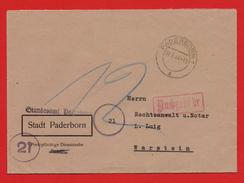 DR Brief Standesamt PADERBORN Portopfl.Diensts.+ Nachgebebühr > WARSTEIN 04.8.44 - Germania