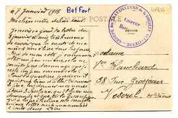 MP454 - CACHET GROUPE DES TRAVAILLEURS DE LA SOCIETE ALSACIENNE CASERNE BOUGENEL SUR CPA BELFORT 1915 - Postmark Collection (Covers)