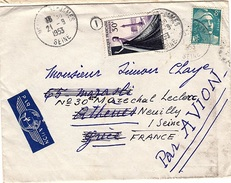 FR - L180 - France Lettre Par Avion Pour Athènes Et Réexpédiée à Neuilly S/Seine 1953 - Airmail