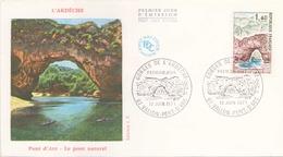 FRANCE FDC DU 12 JUIN 1971 VALLON PONT D ARC GORGES DE L ARDECHE - 1970-1979