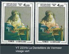 """Variétés YT 2231  """" La Dentellière De Vermeer """" Visage Vert - Errors & Oddities"""