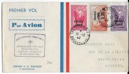 1943 - 1° VOL Des FORCES FRANCAISES COMBATTANTES REOUVERTURE LIGNE MADAGASCAR à LA REUNION - ENVELOPPE => ST DENIS - Madagascar (1889-1960)