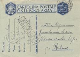 """Regno D'Italia 1941 Cartolina Postale In Franchigia Da Corazzata R. N. """"Giulio Cesare"""" Per Cercivento (Udine) - Seconda Guerra Mondiale"""