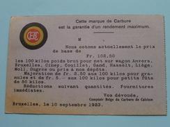 Comptoir Belge Du CARBURE De Calcium BRUXELLES () Anno 1923 > Frasnes-L-Couvin ( Zie Foto Details ) !! - Commerce