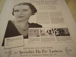 ANCIENNE PUBLICITE LES PATES ALIMENTAIRE  DU PER LUSTUCRU 1934 - Posters