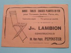 Jos. LAMBION Constructeur Rue Pepin PEPINSTER ( Bancs, Tables ) Anno 1926 > Frasnes-lez-Couvin ( Zie Foto Details ) !! - Magasins