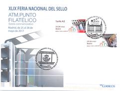 Espagne - Mai 2017 - Vignette ATM Feria Del Sello Madrid - 2 Motifs Tarif A2 - 3 Cachets Différents - Circulée C - 1931-Today: 2nd Rep - ... Juan Carlos I