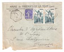 Lettre En Tete Mairie De FAVERGES DE LA TOUR Isère Cachet Hexagonal Sur PAIRE Rouget De LISLE N° 314 +semeuse 10 C;1936 - 1921-1960: Moderne
