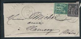 France - Lettre Avec Texte De Lormes Pour Clamecy En 1882  , Affranchissement Sages -  Ref  J 19 - Postmark Collection (Covers)