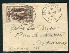 France / Martinique - Obli. Maritime Sur Petite Enveloppe ( Format Carte De Visite ) En 1937 Pour Bordeaux -  Ref  J 23 - Lettres & Documents