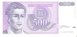 Yugoslavia - Pick 113 - 500 Dinara 1992 - Unc - Jugoslavia