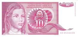 Yugoslavia - Pick 103 - 10 Dinara 1990 - Unc - Jugoslavia