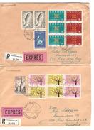 Grand Duché De Luxembourg 2 Lettres Exprès-recommandées Luxembourg TP Europa 1962-63 V.Allemagne Homburg AP1069 - Marcophilie - EMA (Empreintes Machines)