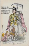 CPA Mort Squelette Satirique Caricature Guerre 14-18 Patriotique Germany Kaiser Guillaume II Non Circulé - Satirical