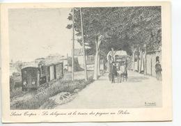 Les Transports En Commun - Saint Tropez à La Belle époque La Diligence Et Le Train Des Pignes Au Pilon Jaudel Illustr - Postcards
